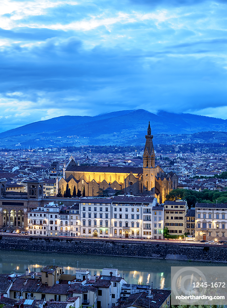 Basilica of Santa Croce at dusk, elevated view, Florence, UNESCO World Heritage Site, Tuscany, Italy, Europe