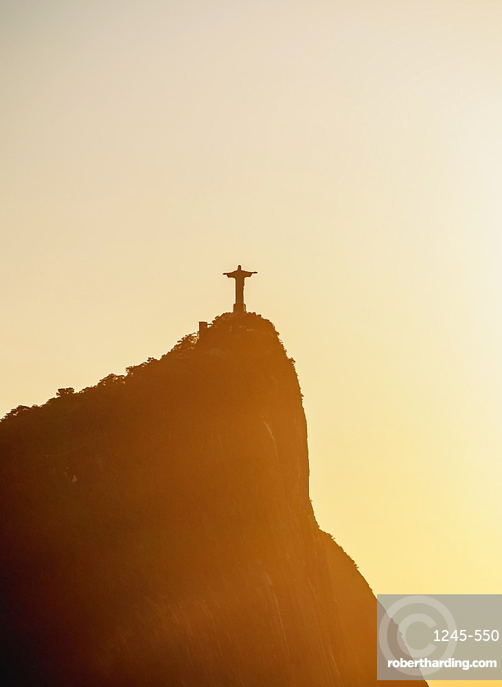 Christ the Redeemer and Corcovado Mountain at sunrise, Rio de Janeiro, Brazil