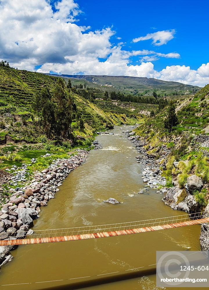 Suspension Bridge over Colca River, Chivay, Arequipa Region, Peru, South America