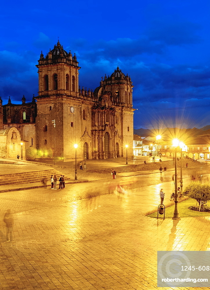 Main Square at twilight, Old Town, Cusco, Peru