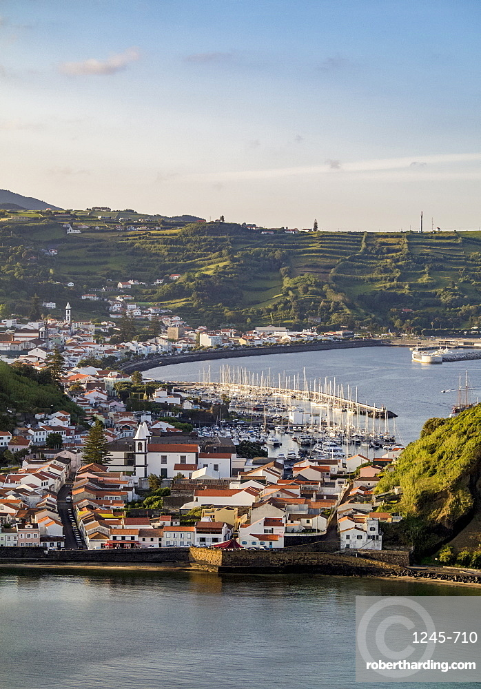 Horta seen from Monte da Guia, elevated view, Faial Island, Azores, Portugal, Atlantic, Europe