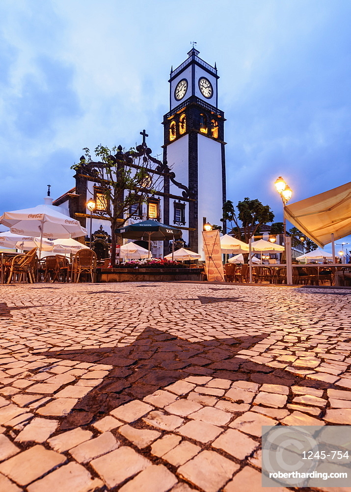 Main Church, twilight, Ponta Delgada, Sao Miguel Island, Azores, Portugal