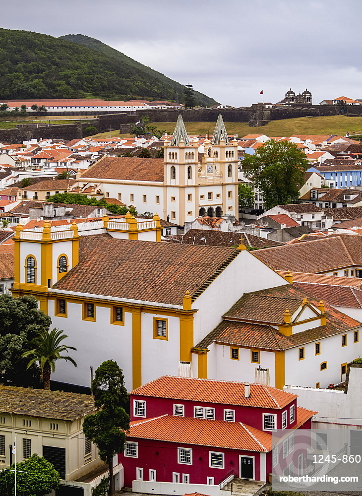 View towards the Santissimo Salvador da Se Church, UNESCO World Heritage Site, Angra do Heroismo, Terceira Island, Azores, Portugal, Atlantic, Europe
