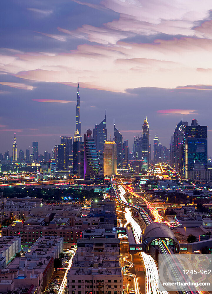 Financial Centre and Downtown at dusk, elevated view, Dubai, United Arab Emirates