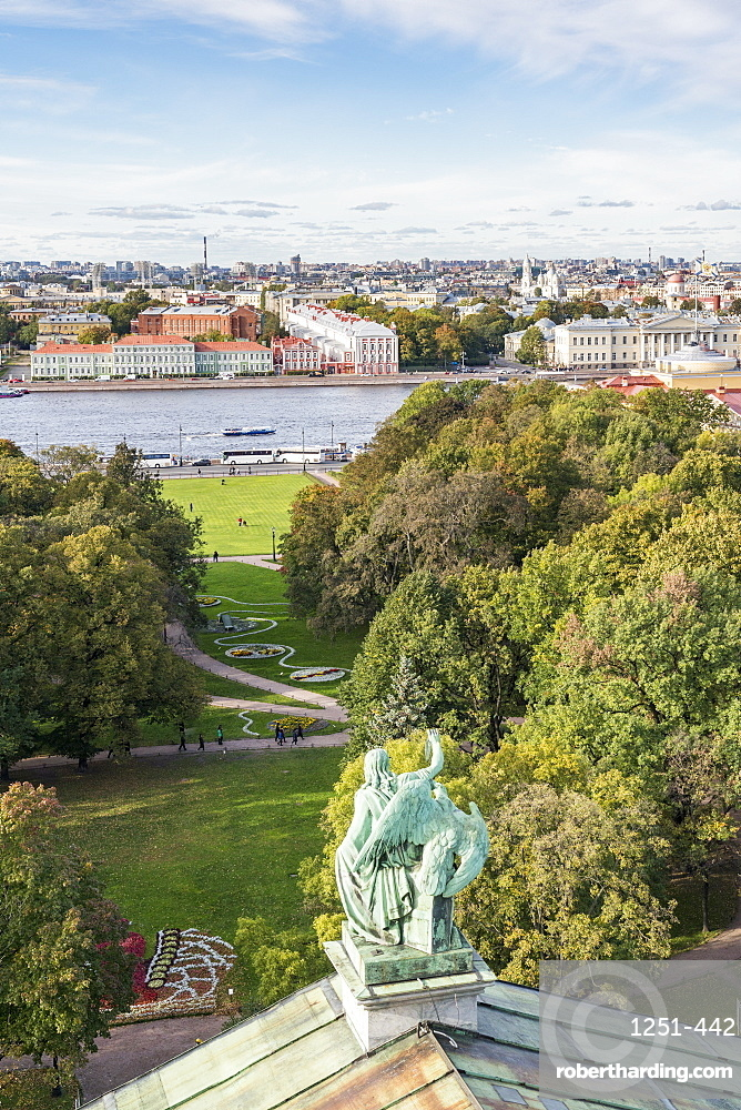 Statue of Saint Isaac's Cathedral with Alexander Garden and Neka River in the background. Saint Petersburg, Russia.