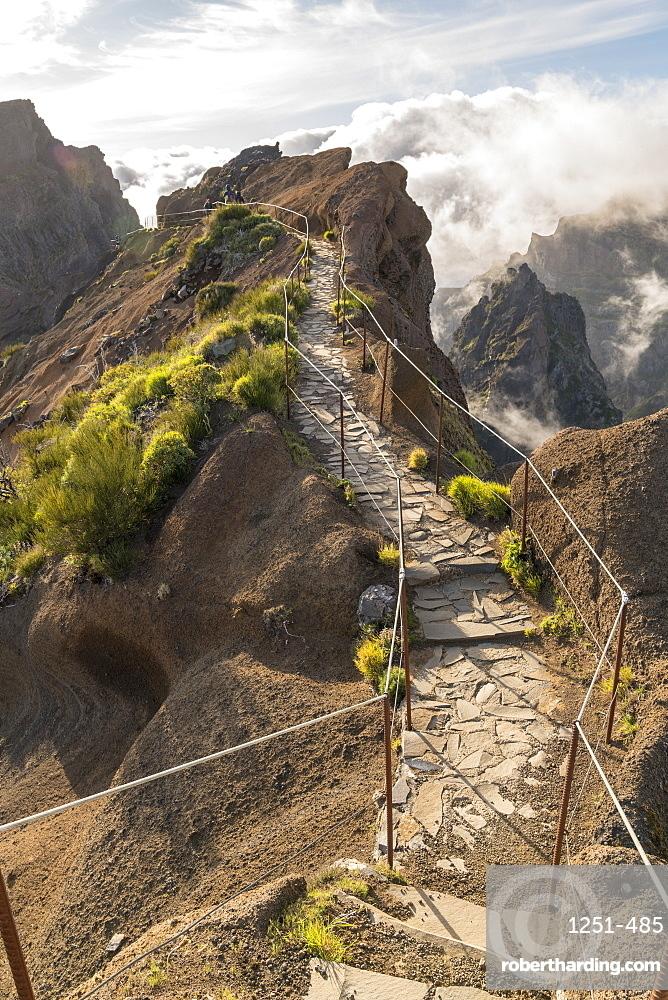 Vereda do Areeiro, the trail that links Pico Ruivo to Pico do Arieiro. Funchal, Madeira region, Portugal.
