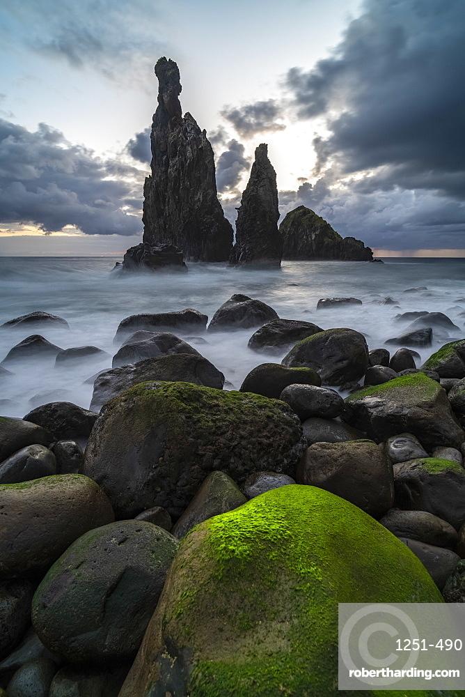 Rib and Janela islets at dusk. Porto Moniz, Madeira region, Portugal.