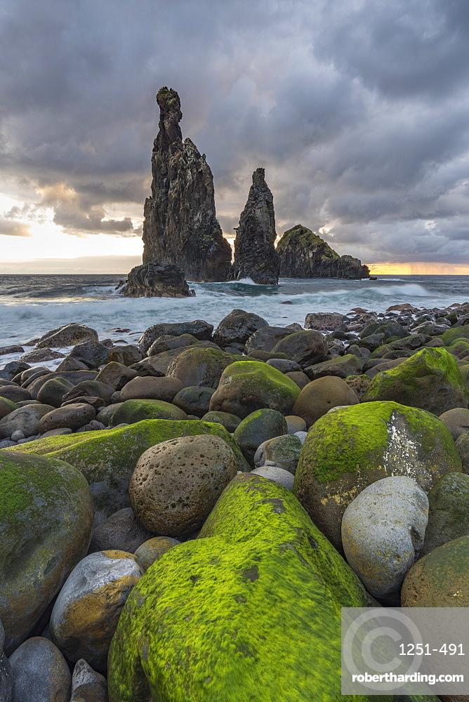 Rib and Janela islets at dawn. Porto Moniz, Madeira region, Portugal.