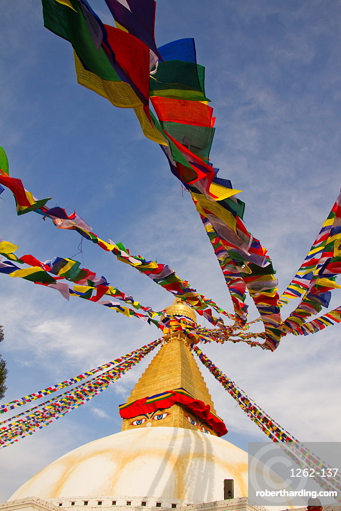 Prayer flags of Boudhanath Stupa, UNESCO World Heritage Site, Kathmandu, Nepal, Asia