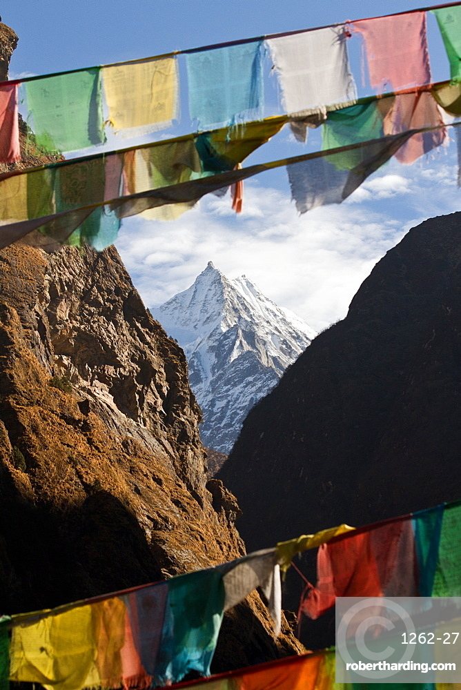 Mountain and prayer flags of Southern Tibet, Himalayas, China, Asia