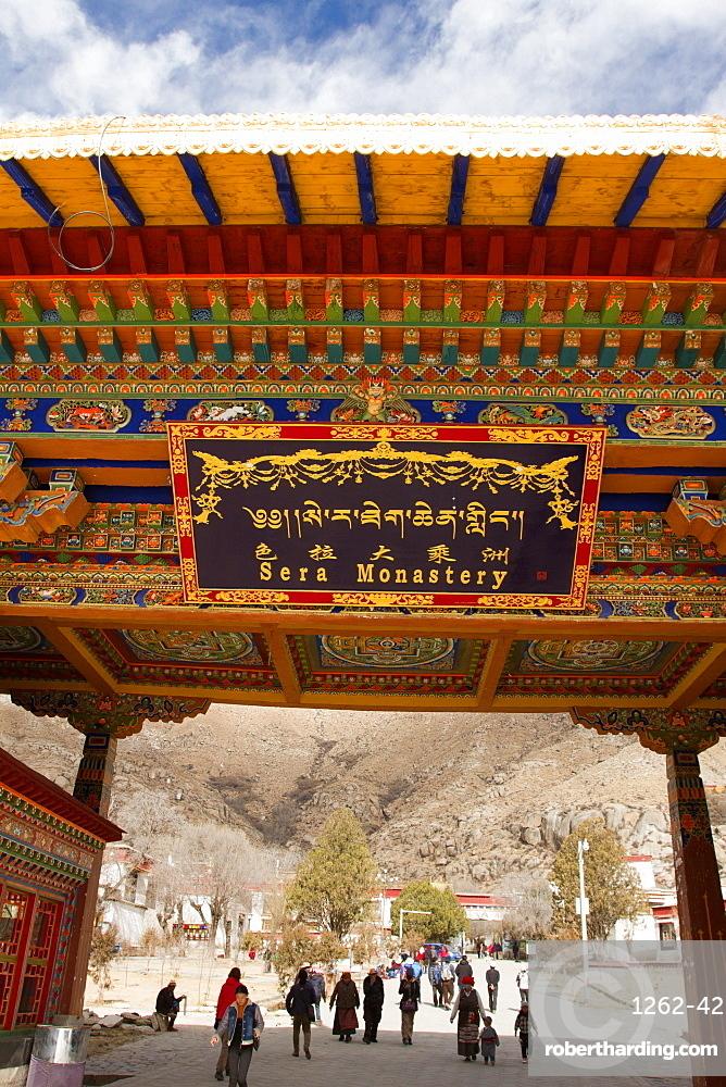 The entrance of Sera Monastery, Lhasa, Tibet, China, Asia