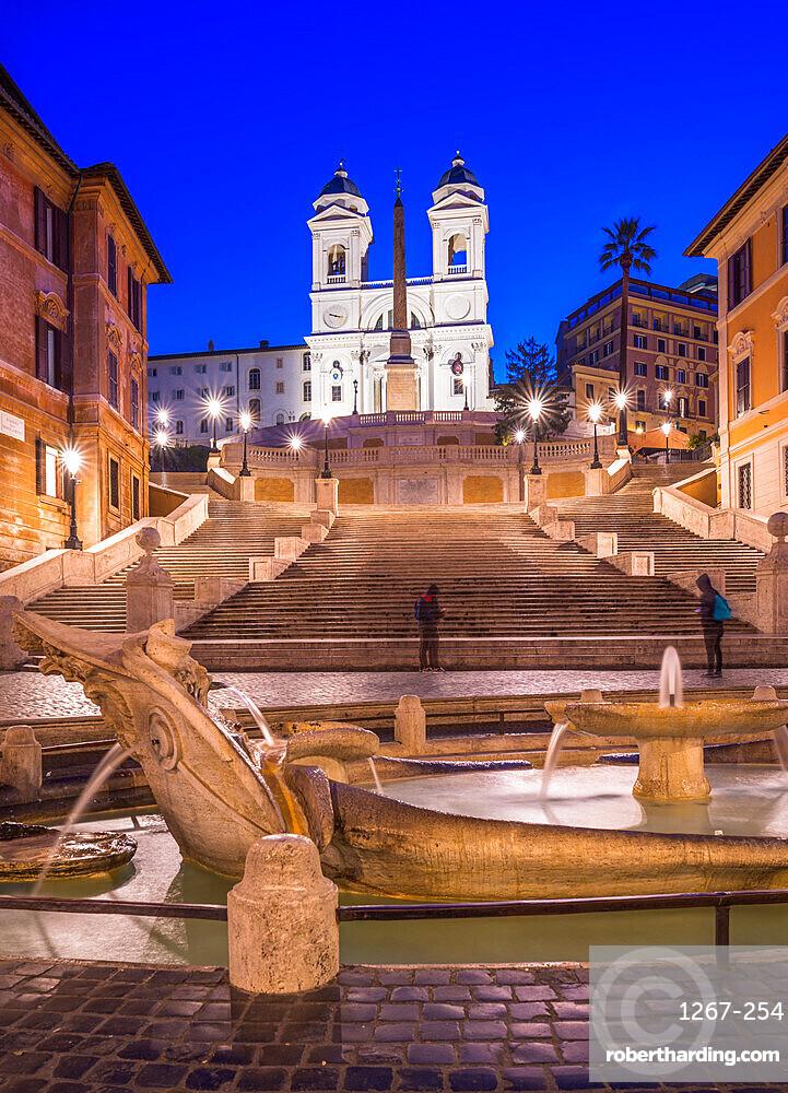 Fountain Fontana della Barcaccia at Piazza di Spagna at Spanish Steps with church of Santissima Trinita dei Monti, Rome, Lazio, Italy, Europe