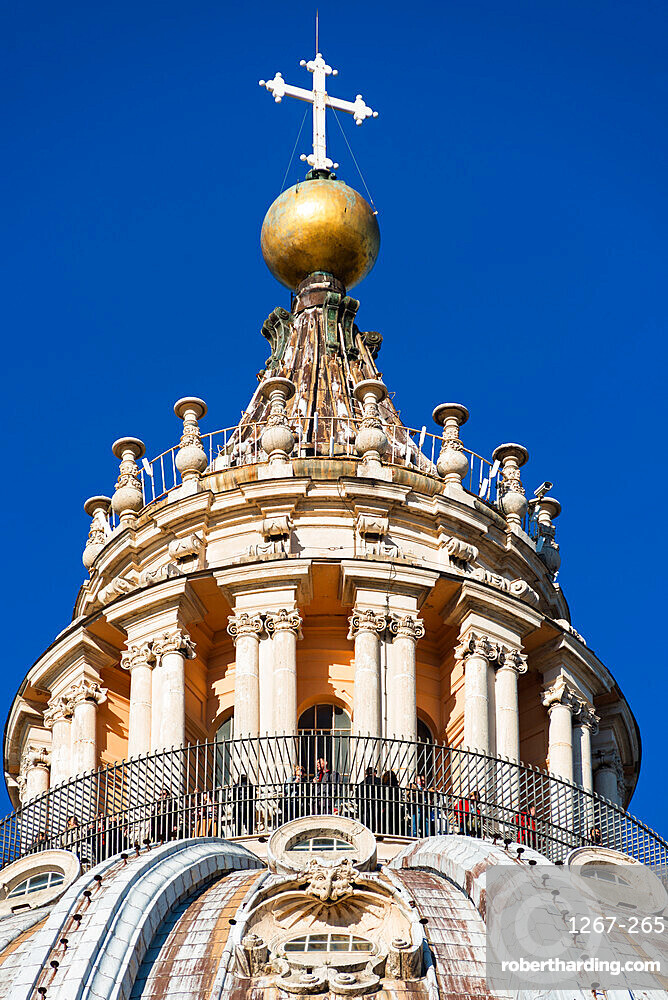 The very top of St. Peter's Basilica Cupola, Vatican, Rome, Lazio, Italy, Europe