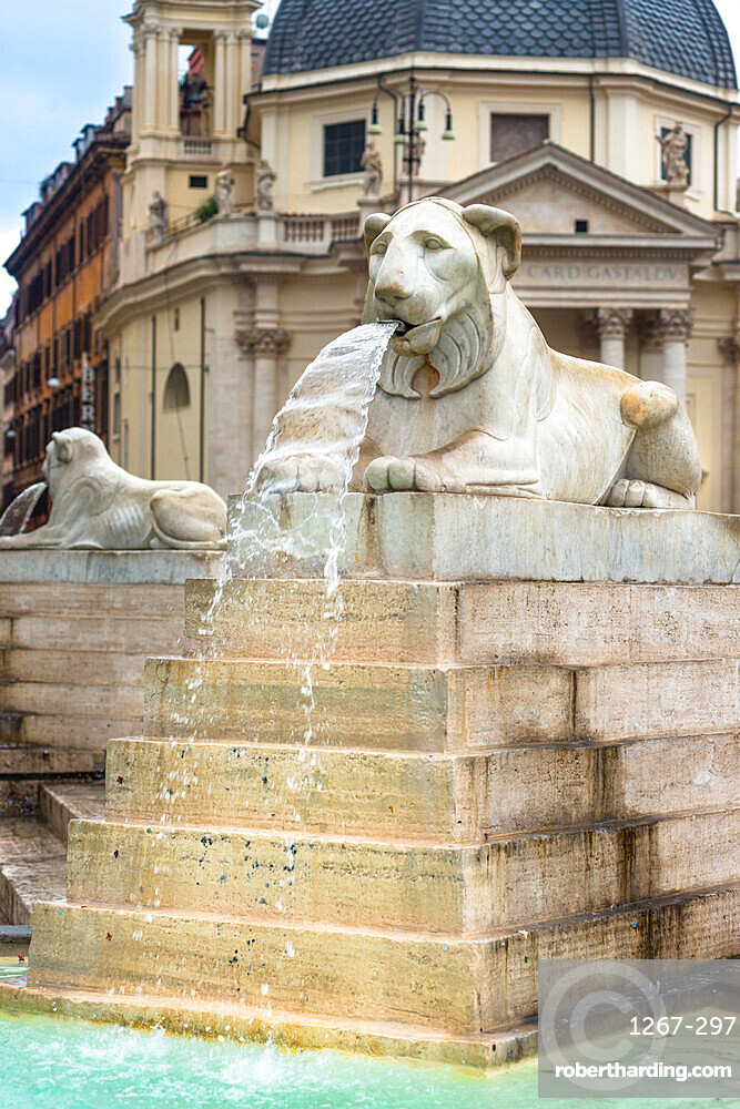 Fontana dell'Obelisco with Egyptian lion statues in the Piazza del Popolo, Rome. Italy.