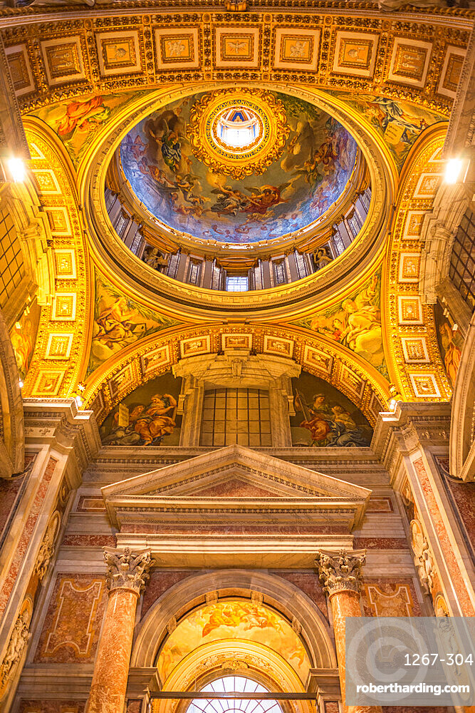 Minor Cupola ceiling detail, St. Peter's Basilica, Vatican City, Rome, Lazio, Italy, Europe