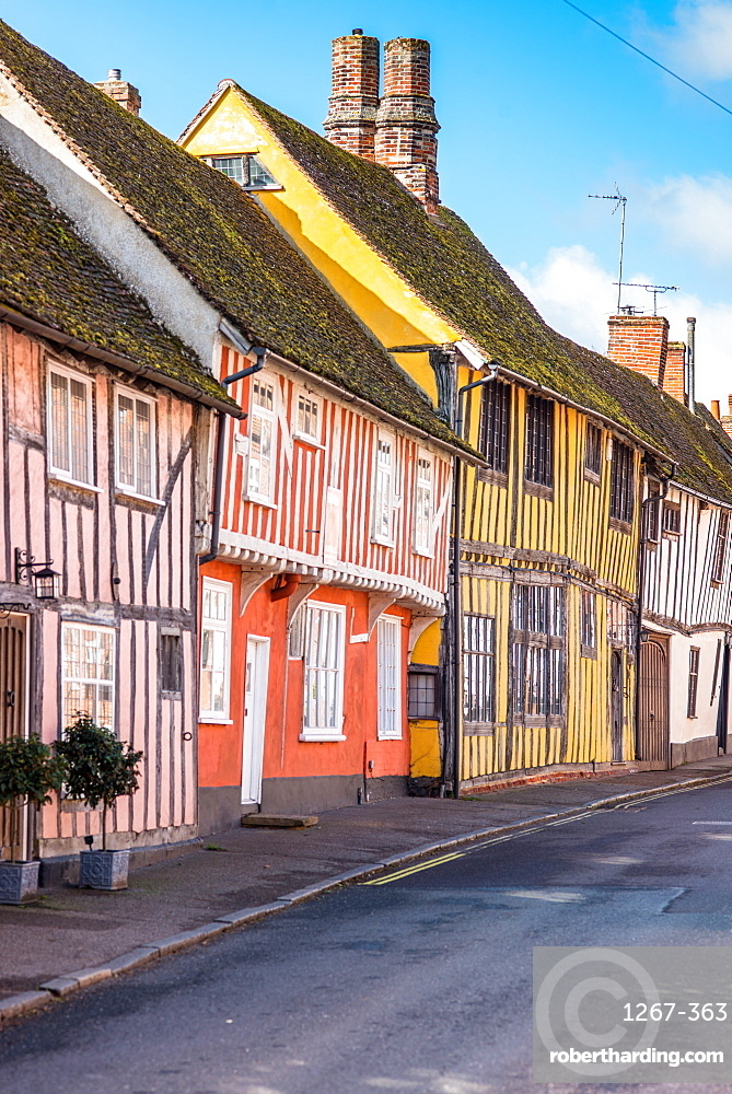 Colourful half timbered houses on Water Street part of the Historic Wool Village of Lavenham, Suffolk, England, United Kingdom, Europe