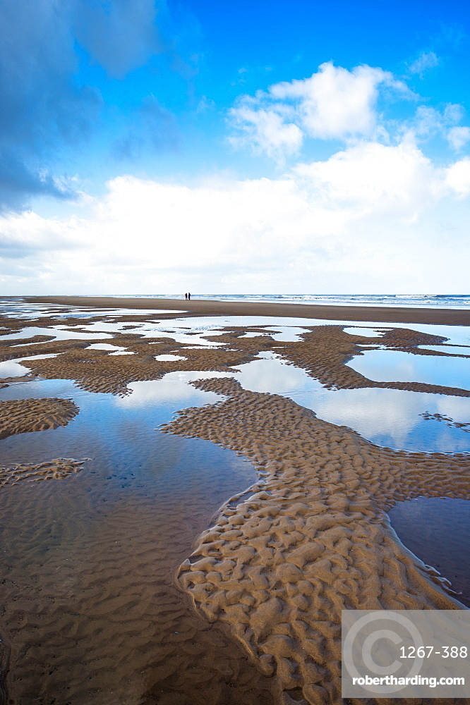 Water pool patterns at low tide on Burnham Overy Staithe beach on Holkham Bay, North Norfolk coast, Norfolk, East Anglia, England, United Kingdom, Europe