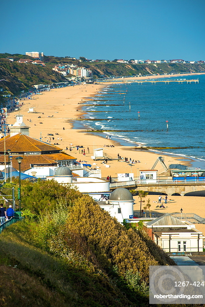 Elevated views of Bournemouth beach from the clifftops. Dorset. England.