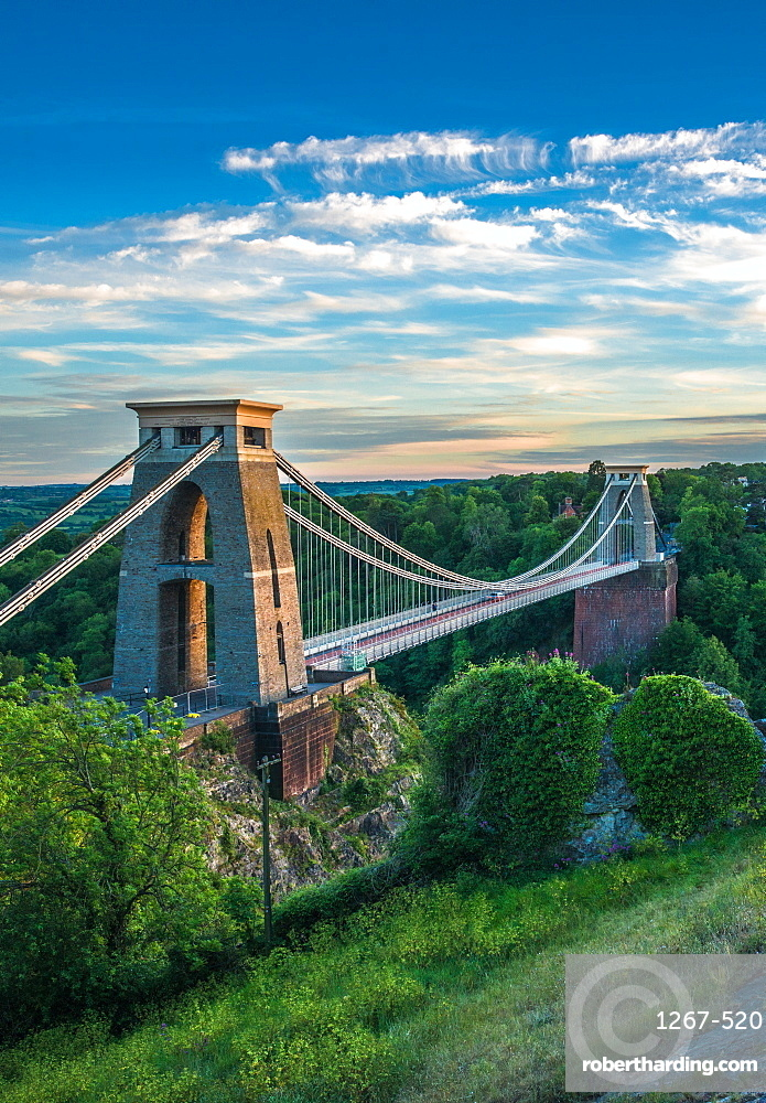 Historic Clifton Suspension Bridge by Isambard Kingdom Brunel spans the Avon Gorge with river Avon below. Bristol, England, UK.
