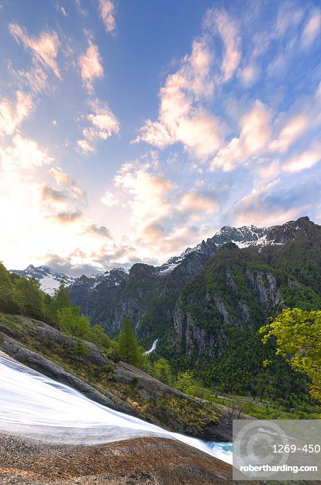 Sunrise at the waterfall of Ferro Valley, Val di Mello, Valmalenco, Valtellina, Lombardy, Italy, Europe
