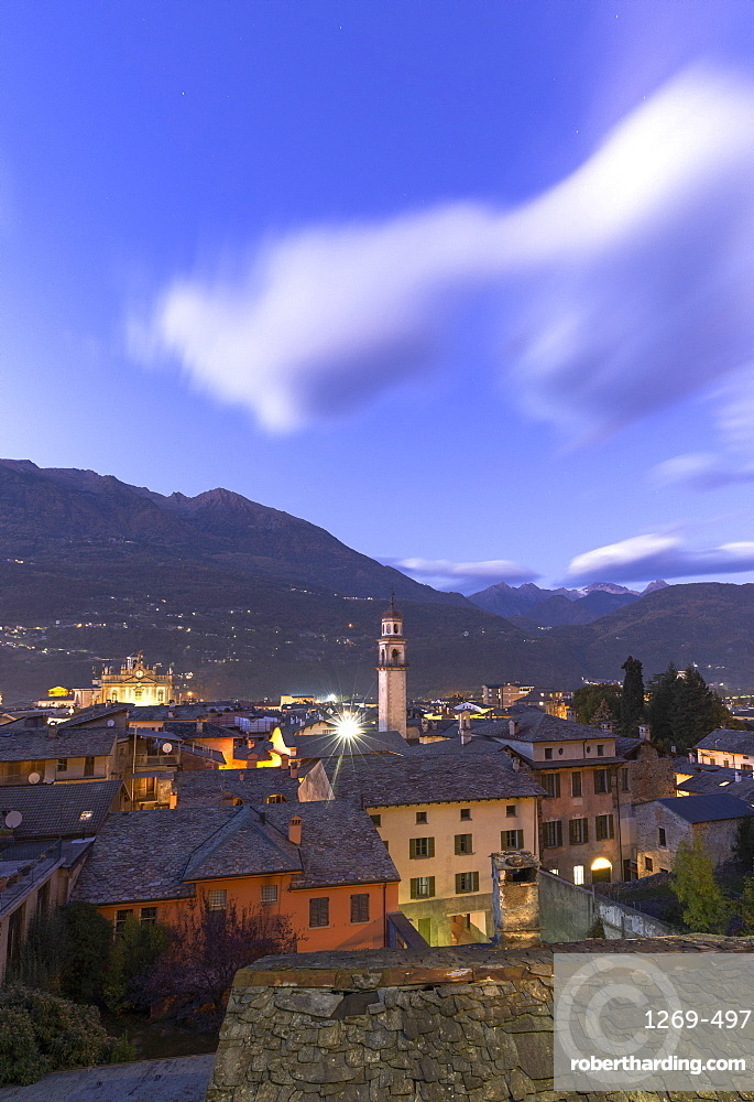 City of Morbegno at dusk, Valtellina, Lombardy, Italy, Europe