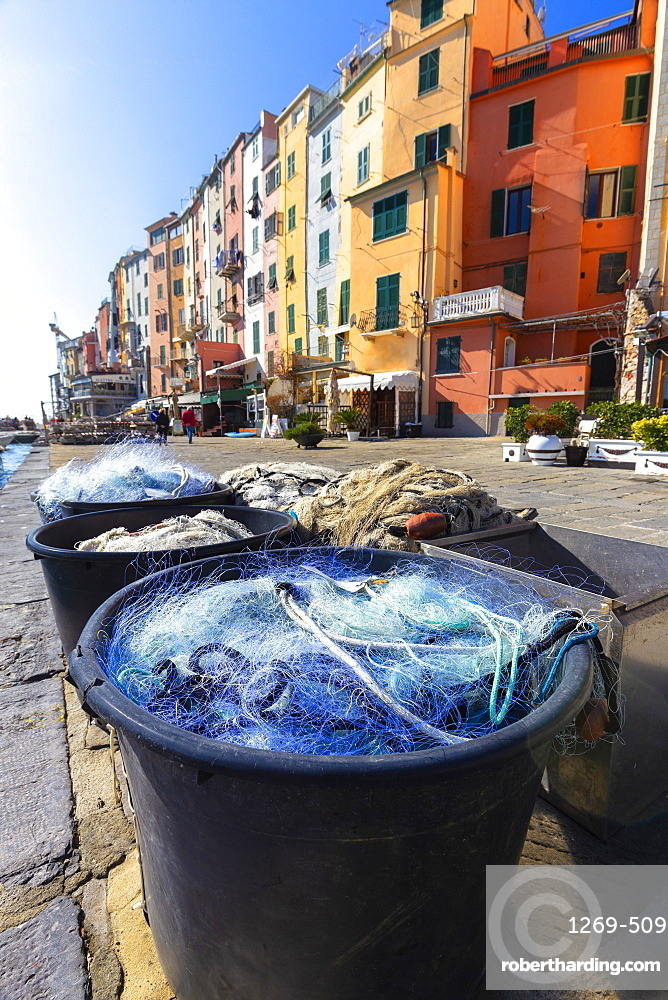 Fishing nets with typical houses in the background, Porto Venere, Cinque Terre, UNESCO World Heritage Site, Liguria, Italy, Europe