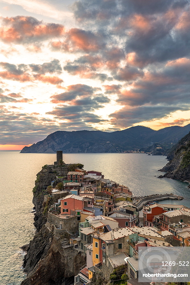 Elevated view of Vernazza at sunset, Cinque Terre, UNESCO World Heritage Site, Liguria, Italy, Europe