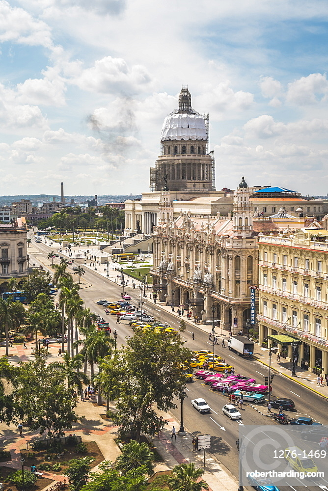 Aerial view the Gran Teatro de La Habana and El Capitolio, Havana, Cuba, West Indies, Caribbean