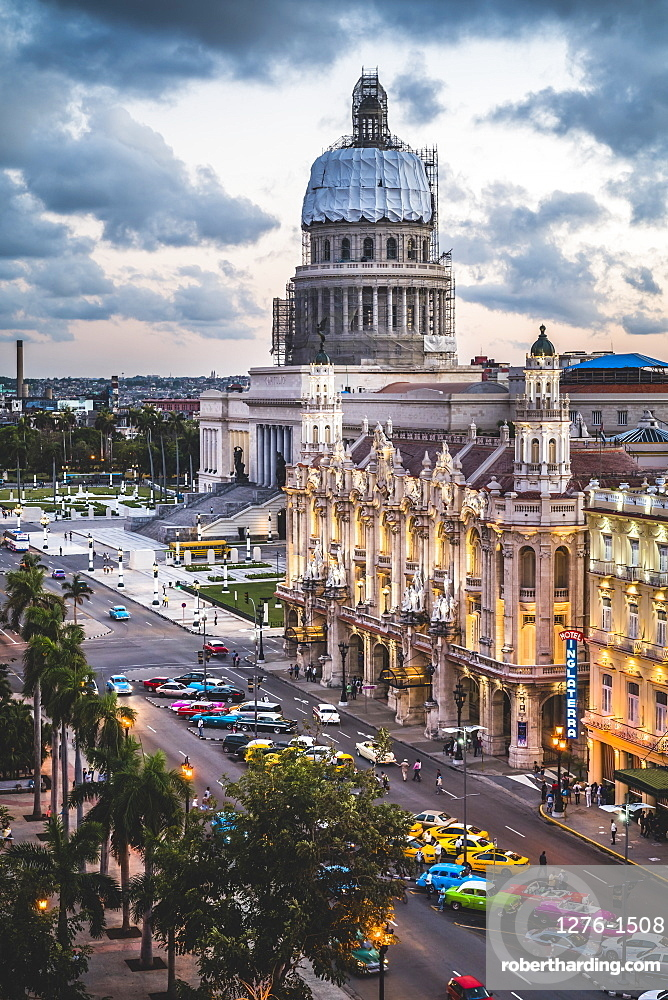 The Gran Teatro de La Habana and El Capitolio at sunset, Havana, Cuba, West Indies, Caribbean