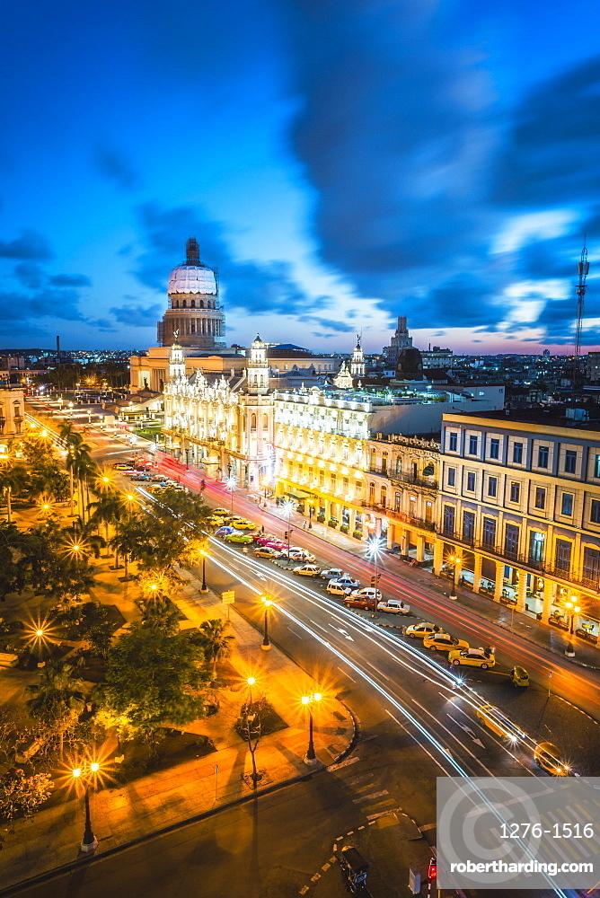 The Gran Teatro de La Habana and El Capitolio at dusk, Havana, Cuba, West Indies, Caribbean