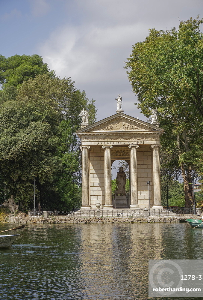 Temple of Asclepius inside the Villa Borghese gardens, Rome, Lazio, Italy, Europe