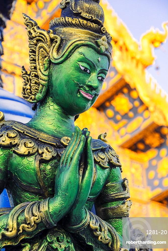 Green Yaksha statue at Wat Rong Suea Ten (Blue Temple) in Chiang Rai Thailand SE Asia