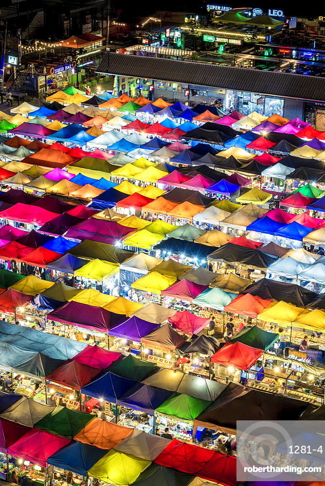 Colourful food stalls and tents at the Ratchada Night Train Market in Bangkok, Thailand, Southeast Asia, Asia