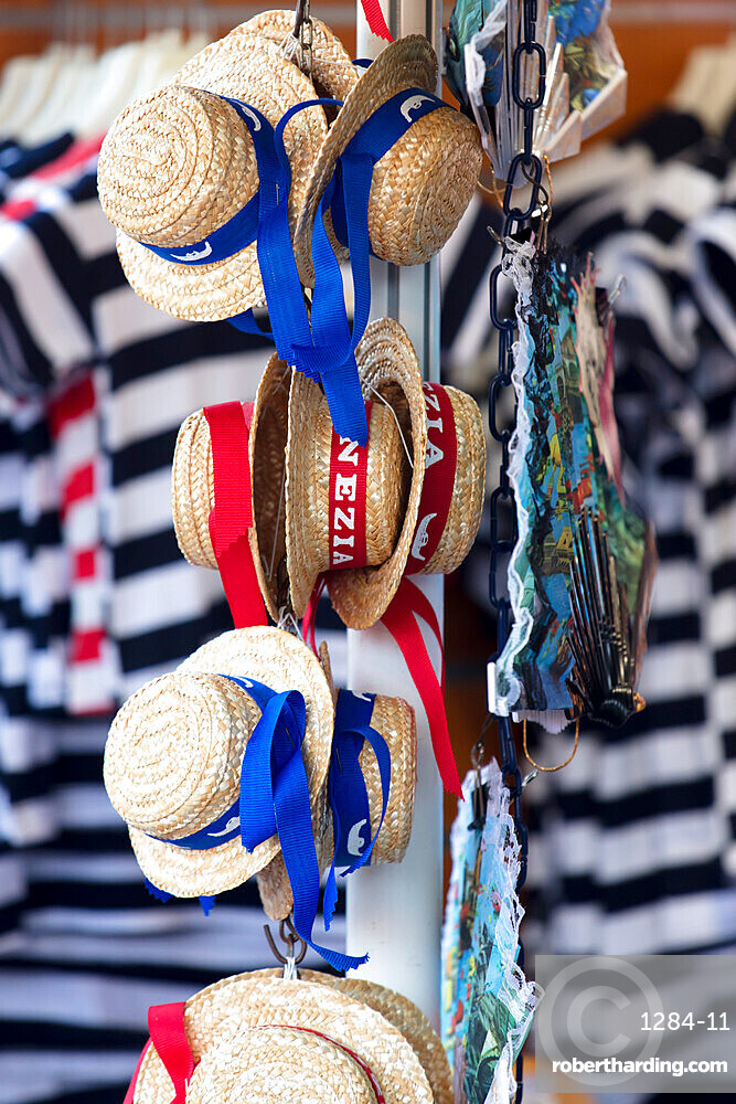 Venetian hats and striped Gondolier top for sale, Venice, Veneto, Italy, Europe