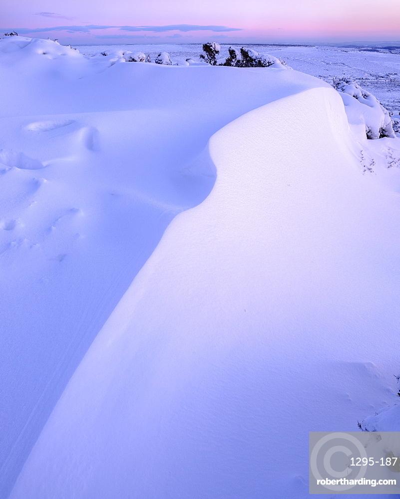 Bank of snow in twilight - Haytor, Bovey Tracey, Devon UK
