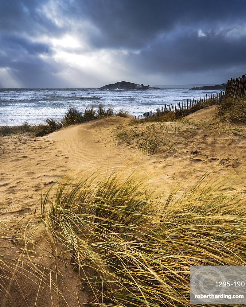 The beach at Bantham during a storm, near Kingsbridge, Devon, UK