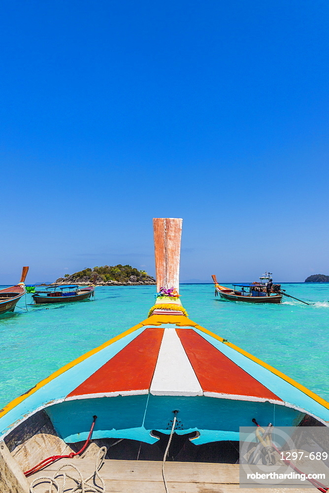 A colourful long tail boat on Ko Lipe Island in Tarutao National Marine Park, Thailand, Southeast Asia, Asia