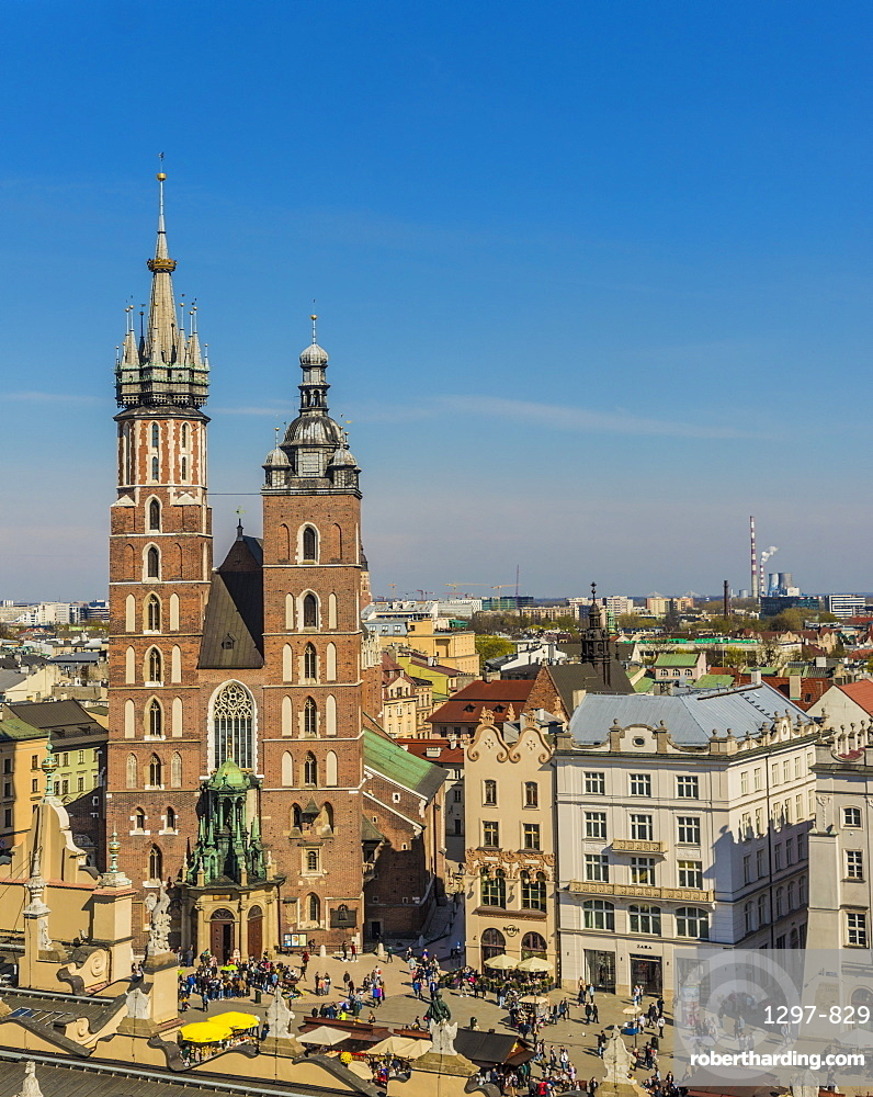 Aerial view of St Marys Basillica and the medieval old town, a UNESCO world Heritage site, in Krakow, Poland, Europe.