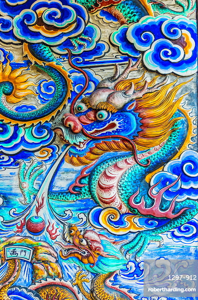Ceramic mural in Hock Teik Cheng Sin temple in George Town, a UNESCO World site, Penang Island, Malaysia, Southeast Asia, Asia.