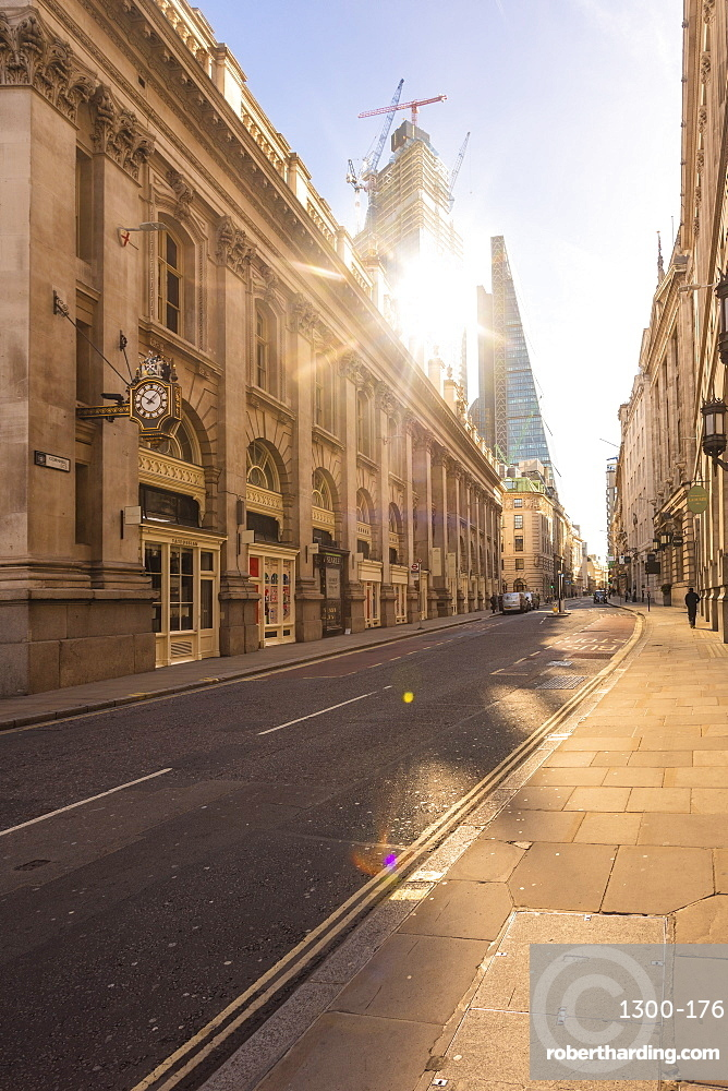 City of London, Cornhill, Liverpool street, financial district London with the shard in the background