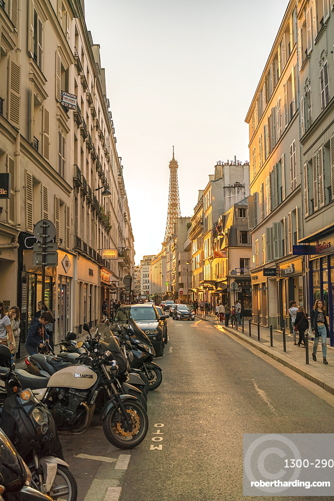 Gros-Caillou, University Street with Eiffel Tower in the background, Paris, France, Europe
