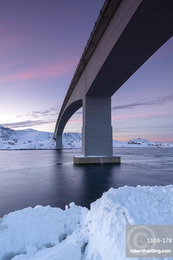 Fredvang Bridge at sunset in winter, Lofoten, Arctic, Norway, Europe