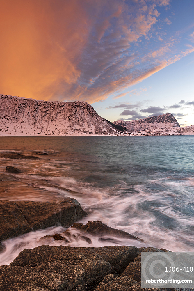 A dramatic sunset at Haukland Beach, Lofoten, Nordland, Norway
