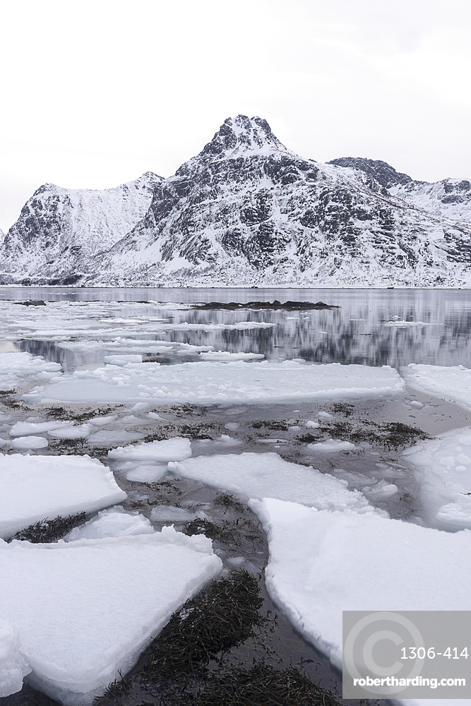 Ice formations and snow covered mountains, Lofoten Islands, Nordland, Norway.