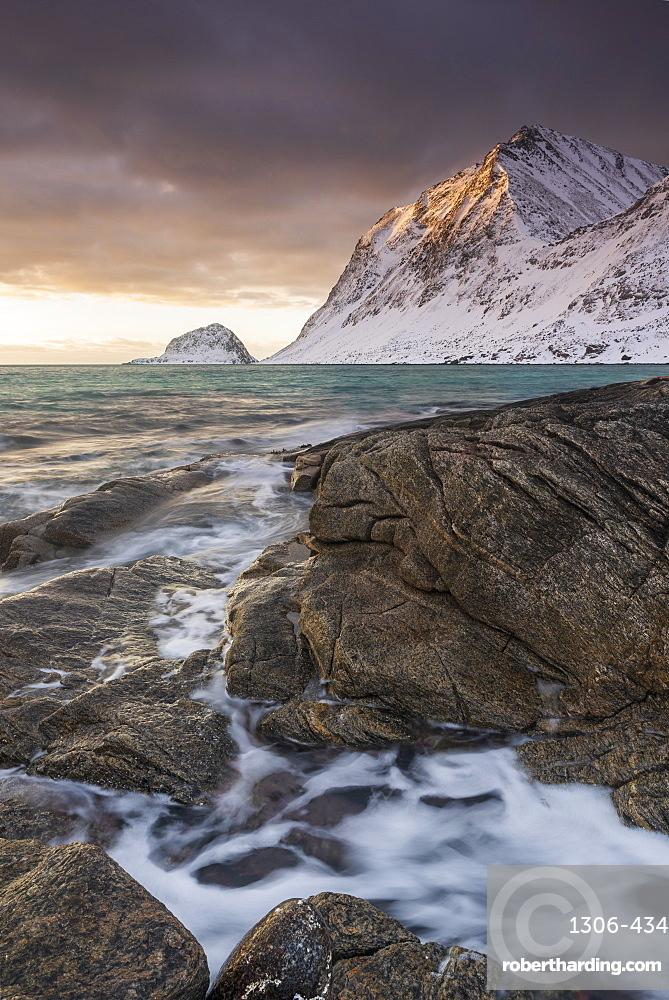 Sunset at Haukland Beach in winter, Lofoten, Nordland, Norway