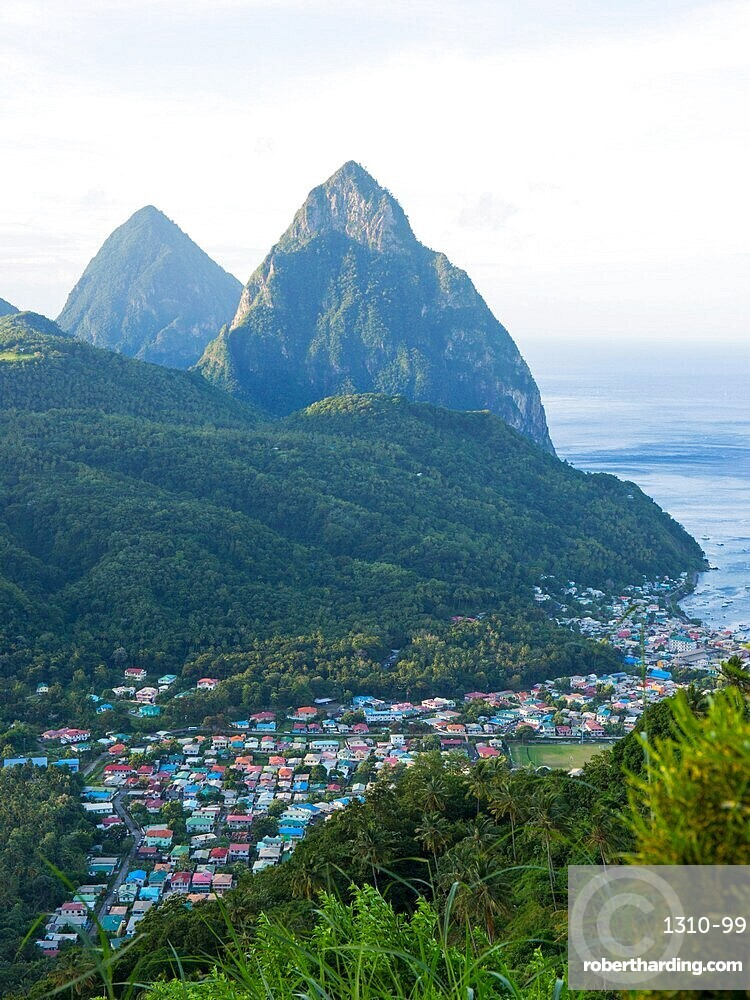 View to the Pitons from hillside above the town, the Caribbean Sea beyond, Soufriere, St Lucia, Lesser Antilles, West Indies
