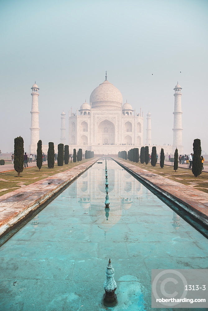The Taj Mahal and it's turquoise water at dawn.