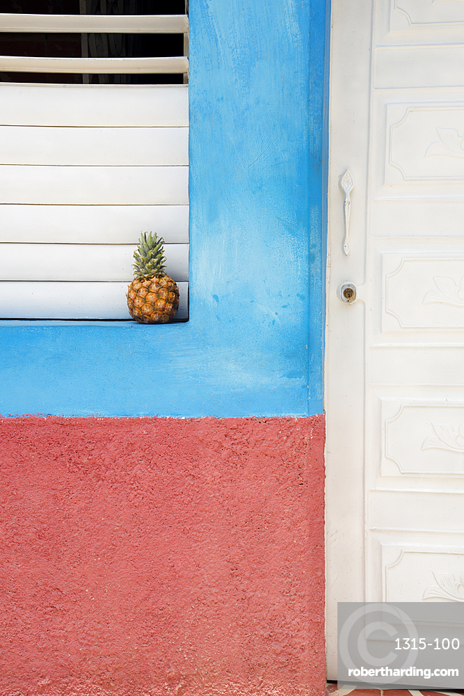 Pineapple on a windowsill in Trinidad, Cuba, West Indies, Caribbean, Central America