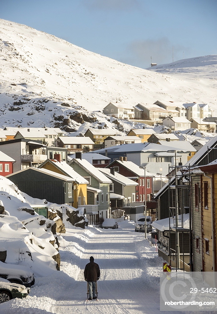 Winter in Honningsvag, most northerly town in Norway, Arctic, Norway, Scandinavia, Europe