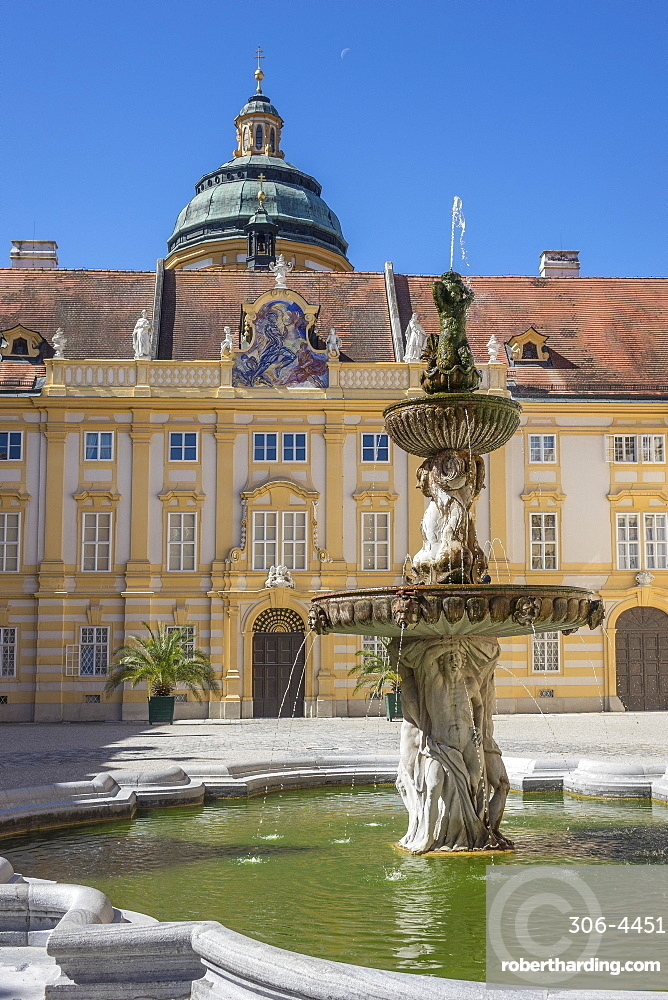 Fountain in courtyard of Abbey, Melk, Lower Austria, Austria